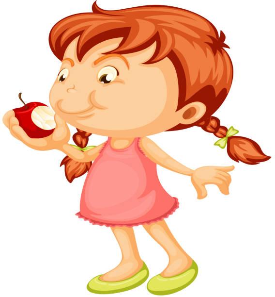 Best Kid Girl Eating Apple Illustrations Royalty Free