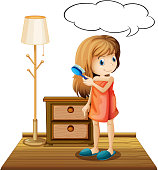 Illustration of a girl combing hair in a room