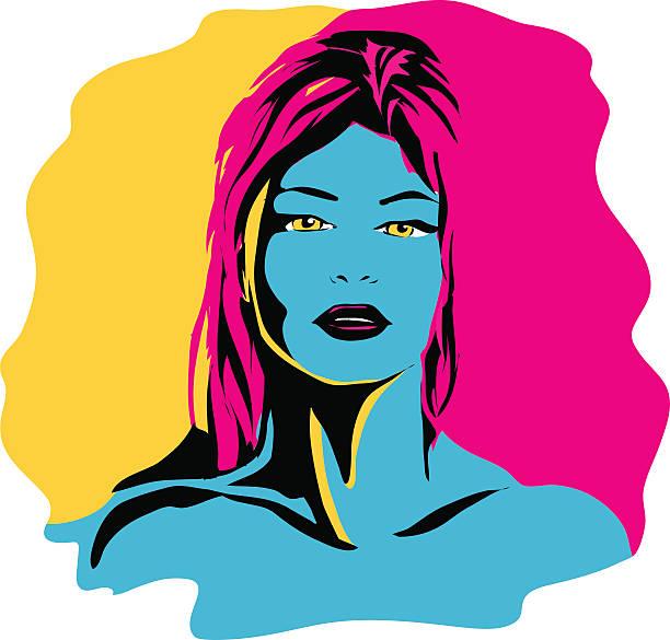 CMYK Girl vector art illustration