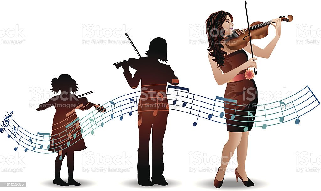 Girl Violin Stages vector art illustration