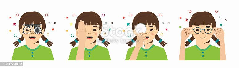 istock Girl vision checkup in ophthalmological clinic. Optometrist checking kid eyesight with spectacles medical equipment. Set. Glasses lens selection. Flat cartoon character illustration 1251723910