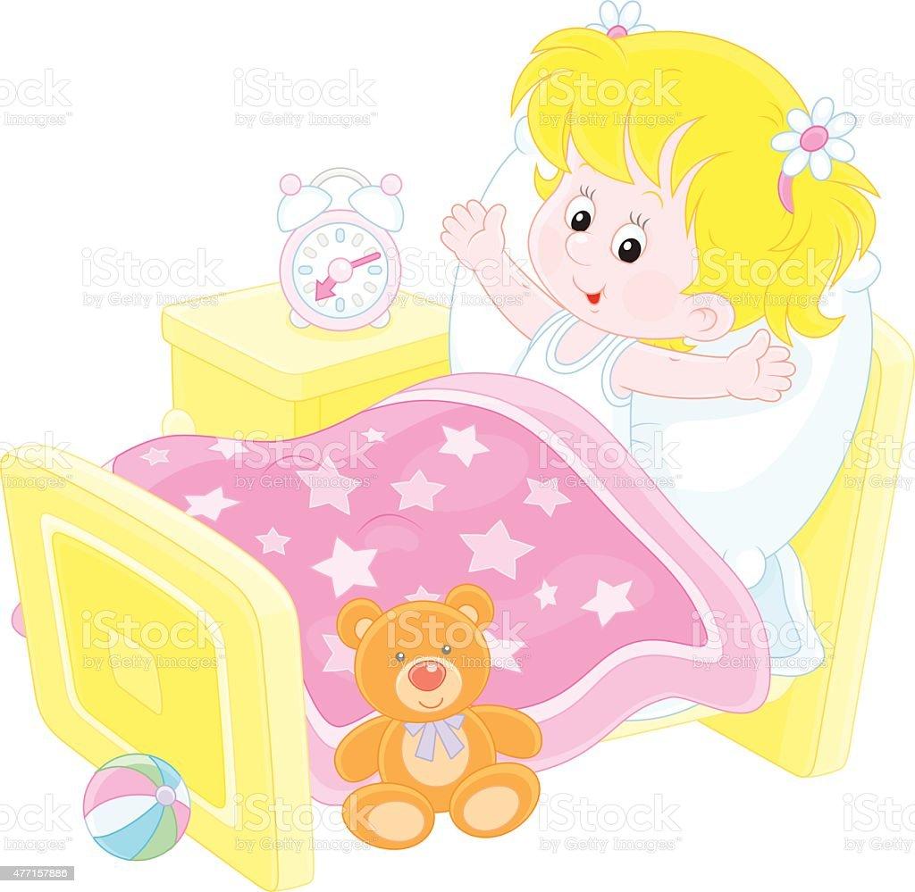 royalty free girl waking up clip art vector images illustrations rh istockphoto com