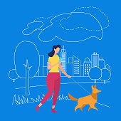 Young Woman Character Walking with Dog and Messaging in Smartphone on Blue Background with Outline City and Nature Elements. Human Life, Summer Time Activity. Cartoon Flat Vector Illustration.