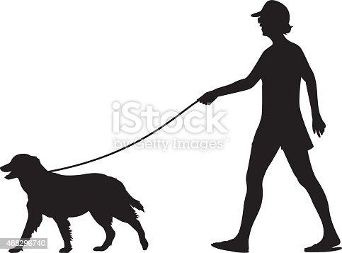 Girl Walking Dog Silhouette