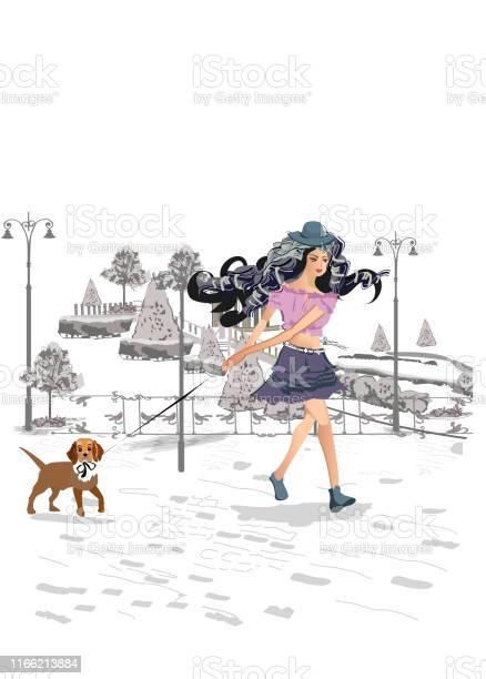 Girl walking her dog in the park hand drawn vector illustration vector id1166213884?b=1&k=6&m=1166213884&s=612x612&h=0qgymqg6qsaqcdxavmlln0uvthlivrmeytzvunukxym=