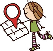 A cartoon style illustration of a girl holding a blank map and a google-style location icon walking to the right. This is a spot illustration on a white background.