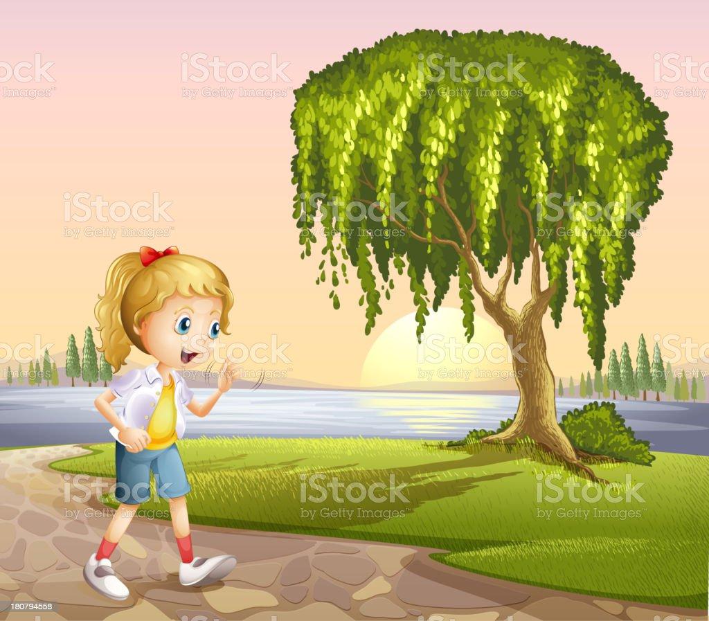 girl walking hurriedly royalty-free stock vector art
