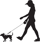 Vector silhouette of a young woman walking her little dog.