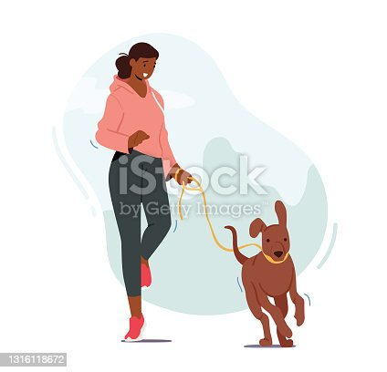 Girl Walking with Dog Outdoors, Female Character Run with Funny Pet, Woman Exercising, Jogging at Morning with Puppy