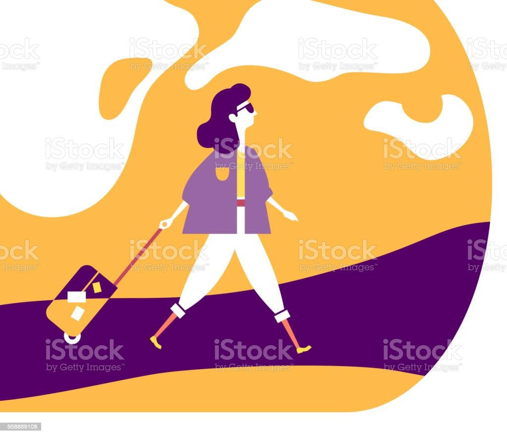 A girl walks on the road and rolls a suitcase on wheels Tourism Travel Minimalistic vector illustration vector art illustration