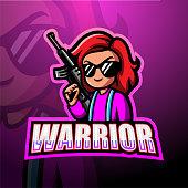 Vector illustration of Girl warrior mascot esport logo design
