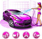Girl wash car