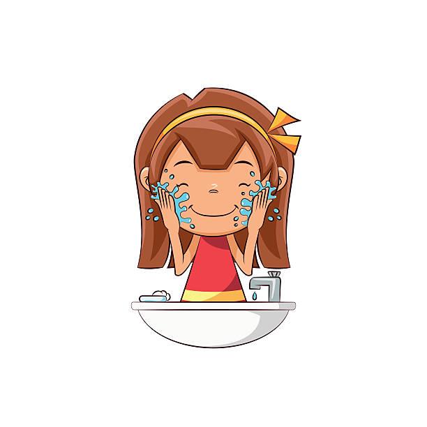 stockillustraties, clipart, cartoons en iconen met girl washing face - alleen één meisje
