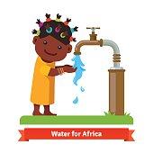 Girl washing hands. Water shortage symbol