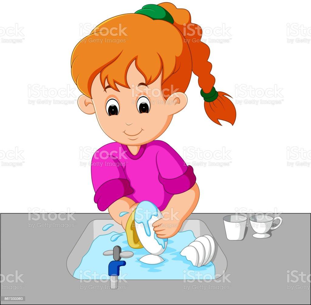 girl washing the dishes vector art illustration