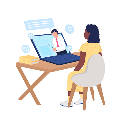 Girl watching online course on mathematics flat color vector faceless character