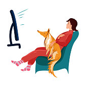 istock Girl watching television with her red collie dog vector illustration 1188048779