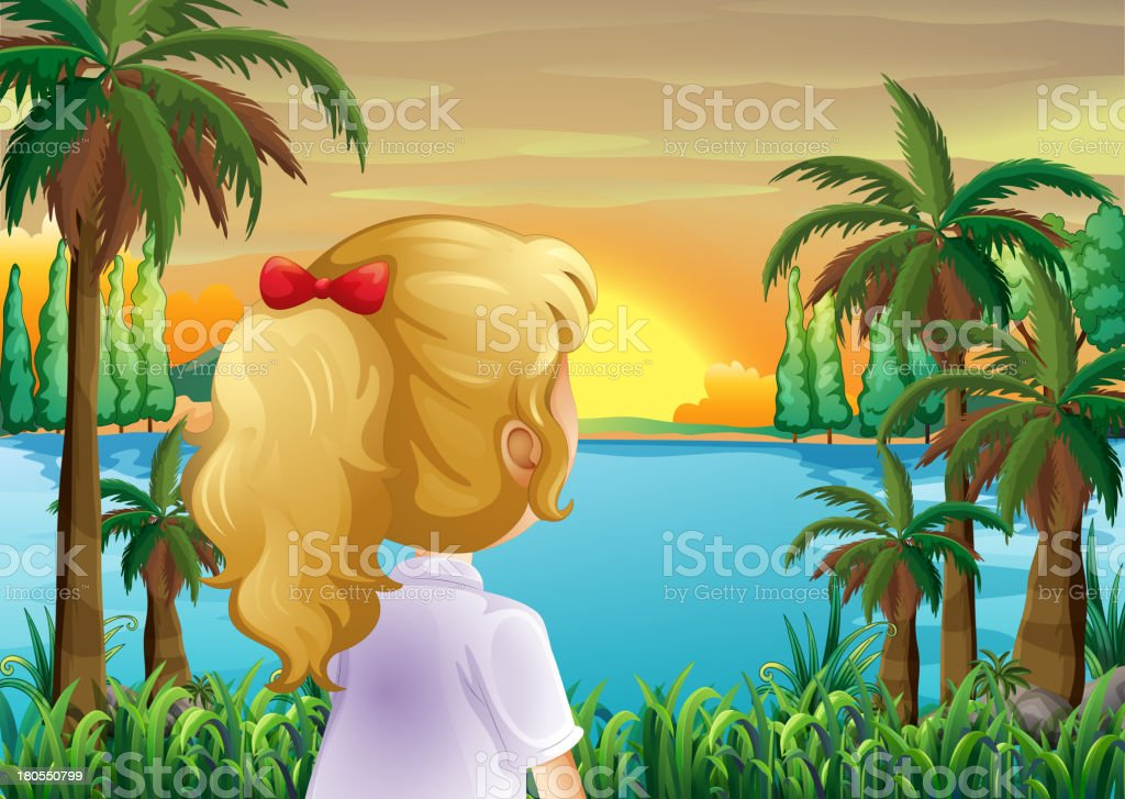 girl watching the sunset at riverbank royalty-free girl watching the sunset at riverbank stock vector art & more images of adult