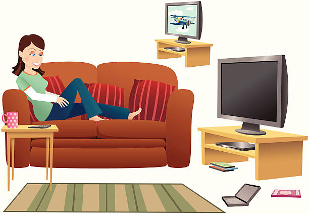 Royalty Free Watching Tv Clip Art Vector Images Illustrations Istock