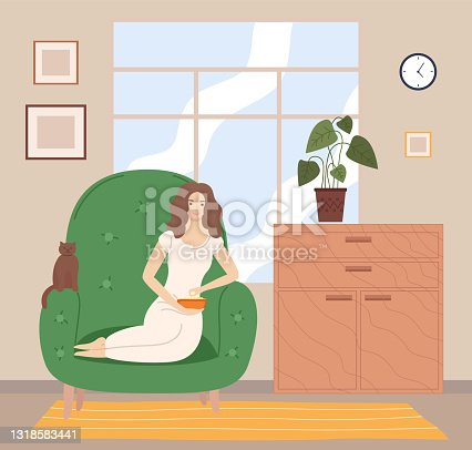 istock Girl watching TV with popcorn on the sofa in living room flat cartoon vector illustration 1318583441