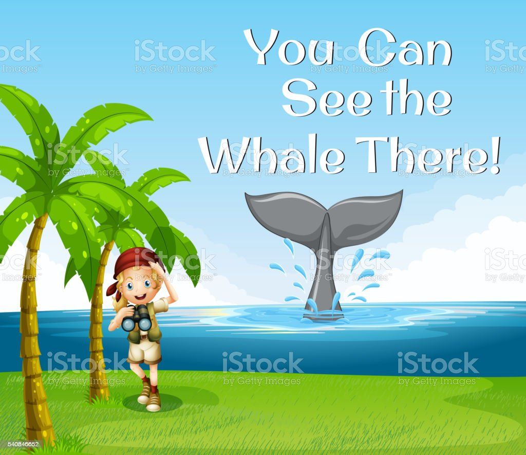 Girl watching whale in the ocean vector art illustration