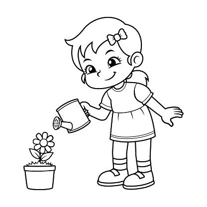 Ilustración De Niña Regando Sus Plantas De Flor Bw Y Más