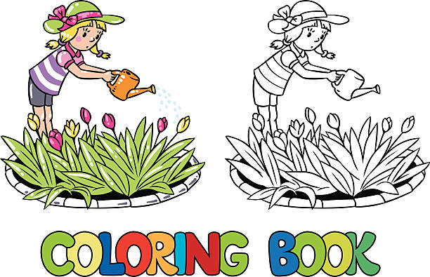 Girl watering the flowers. Coloring book vector art illustration