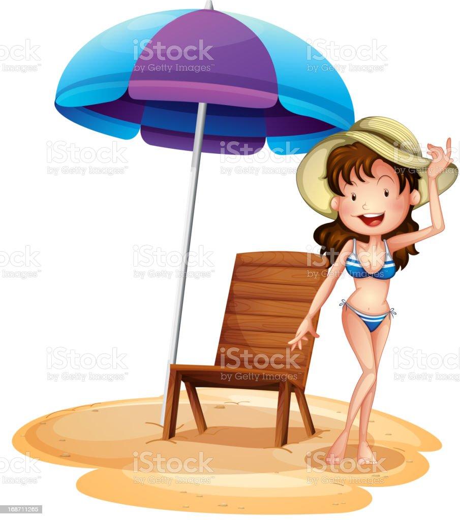 Girl wearing bikini beside chair and umbrella royalty-free girl wearing bikini beside chair and umbrella stock vector art & more images of adult