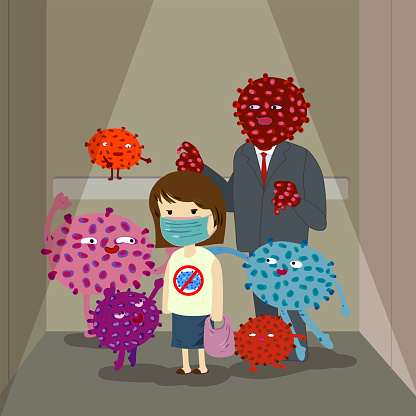 Girl wearing face mask trapped in elevator surrounded by multi colored virus charactors, vector illustration