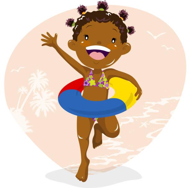 Girl wearing inner tube at beach vector art illustration