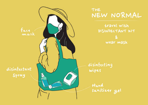 illustrazioni stock, clip art, cartoni animati e icone di tendenza di girl wearing mask and carry disinfectant kit, new normal lifestyle. - new normal