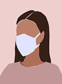 Girl wearing medical face mask. Vector illustration in pastel palette