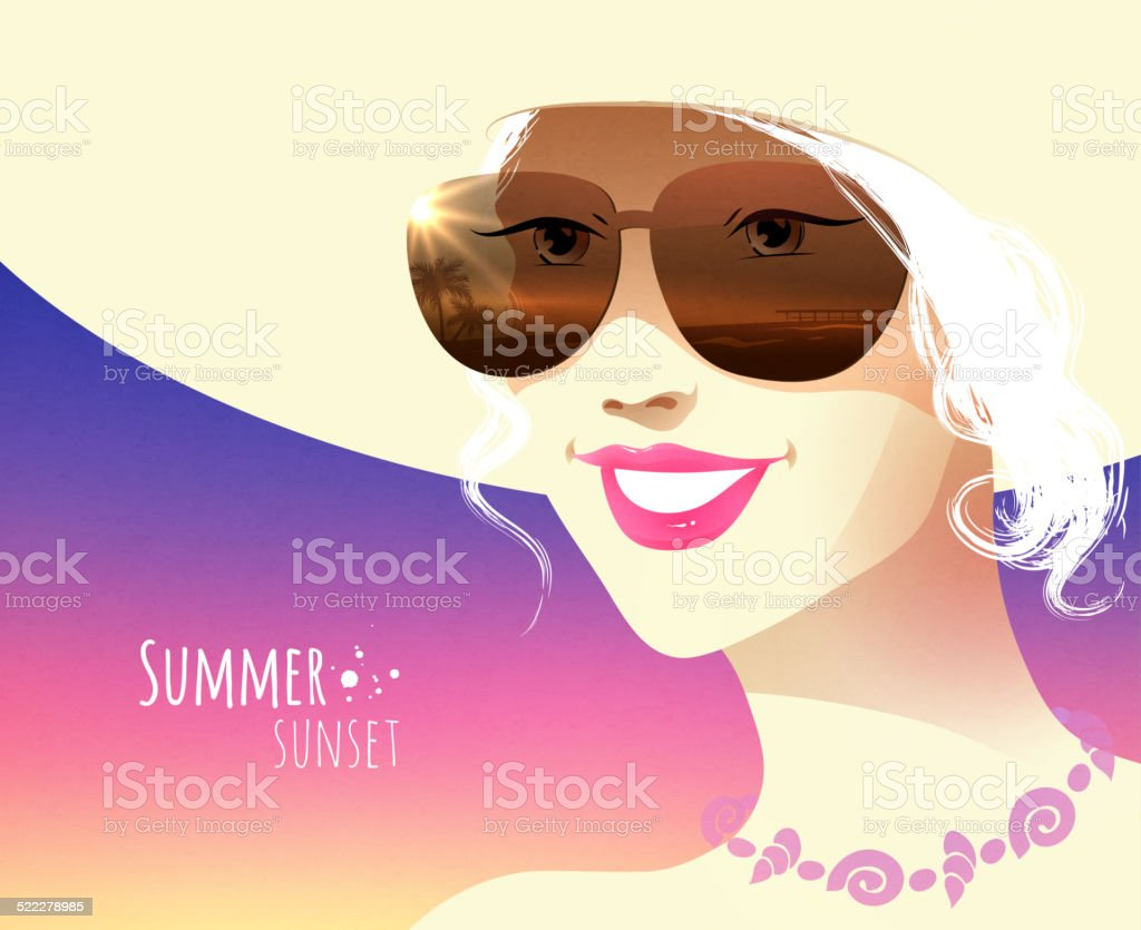 Girl wearing sunglasses. vector art illustration
