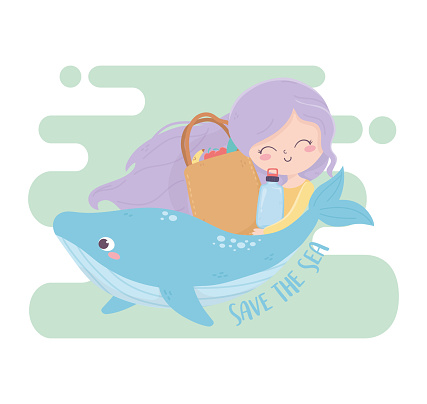 girl whale and shopping bag save the sea environment ecology