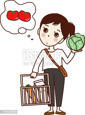 istock A girl who is worried about having a shopping basket and cabbage. 1318255650