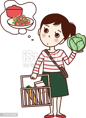 istock A girl who is worried about having a shopping basket and cabbage. 1318255862