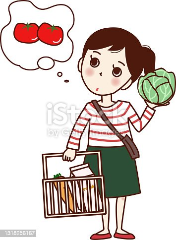 istock A girl who is worried about having a shopping basket and cabbage. 1318256167