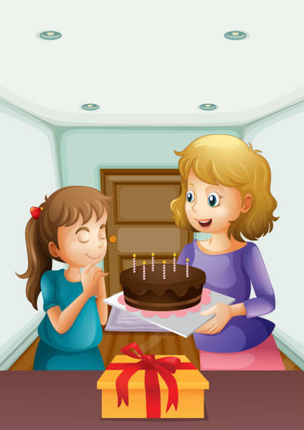 Girl wishing before blowing her birthday cake Girl wishing before blowing her birthday cake birthday wishes for daughter stock illustrations