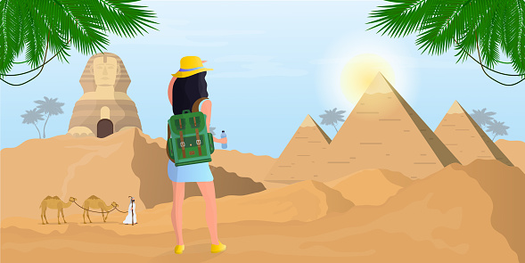 A girl with a backpack looks at the Egyptian Sphinx and the pyramids. Desert. Vector.