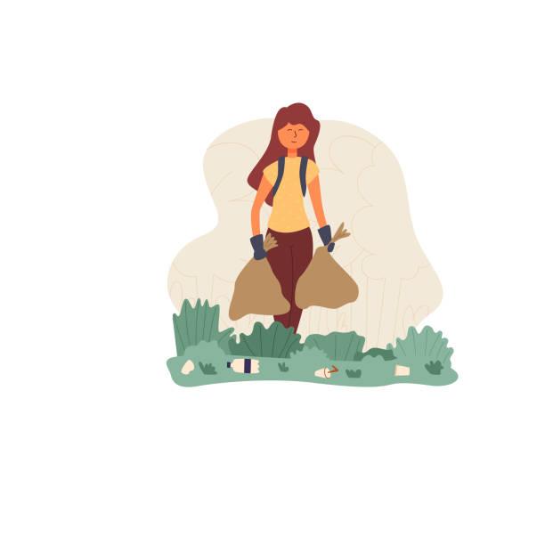 Ein Mädchen mit einer Tasche sammelt Müll im Park – Vektorgrafik