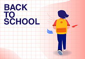 istock A girl with a bag goes to school. A student goes to study with a backpack. Back to school 1329383542