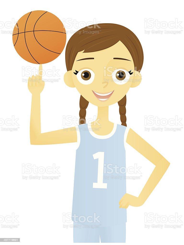 Girl with a Basketball vector art illustration
