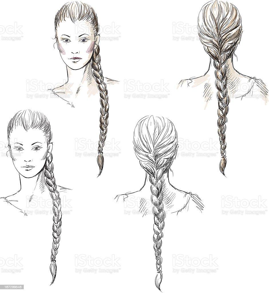 Girl with a braid, vector EPS 10 vector art illustration