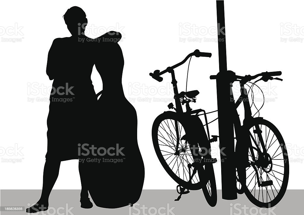 Girl with a cello royalty-free stock vector art