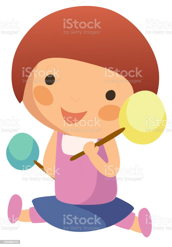 girl with a colourful lollypop vector art illustration
