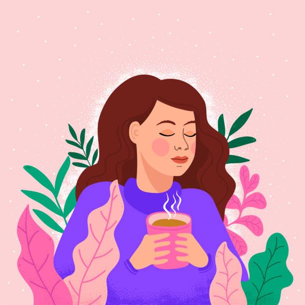 ilustraciones, imágenes clip art, dibujos animados e iconos de stock de chica con una taza de té - café bebida