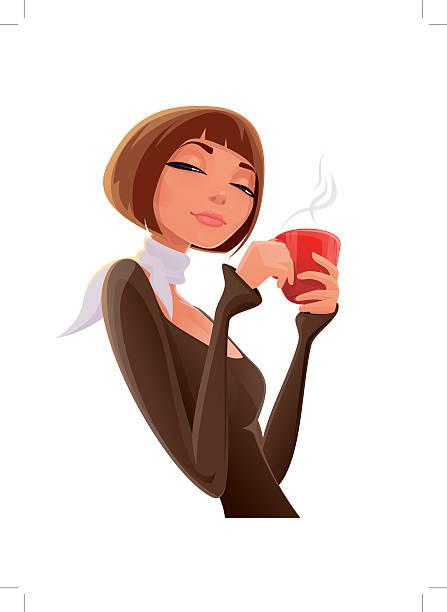 ilustraciones, imágenes clip art, dibujos animados e iconos de stock de chica con una taza - café bebida