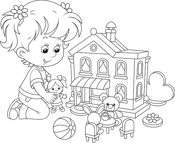 Girl with a doll and toy house Little girl playing with a small doll, bear, rabbit and toy house dollhouse stock illustrations