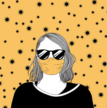 Girl with a face mask and sunglasses, surrounded by coronavirus