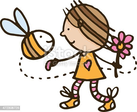 Bee And Flower clip art free vector | Download it now!